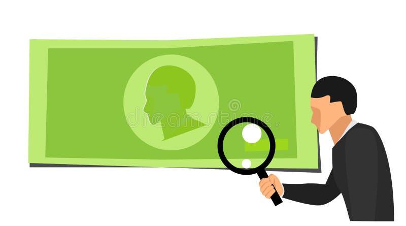 O assistente de um homem que guarda um laço da lente está olhando um símbolo verde do dinheiro Os desenhos animados verificam a a foto de stock