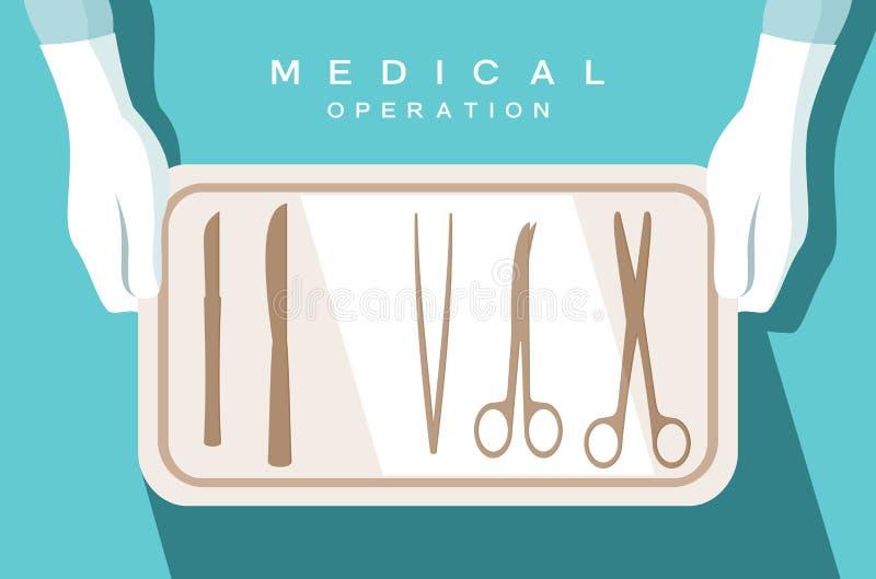 O assistente do cirurgião guarda instrumentos cirúrgicos ilustração do vetor