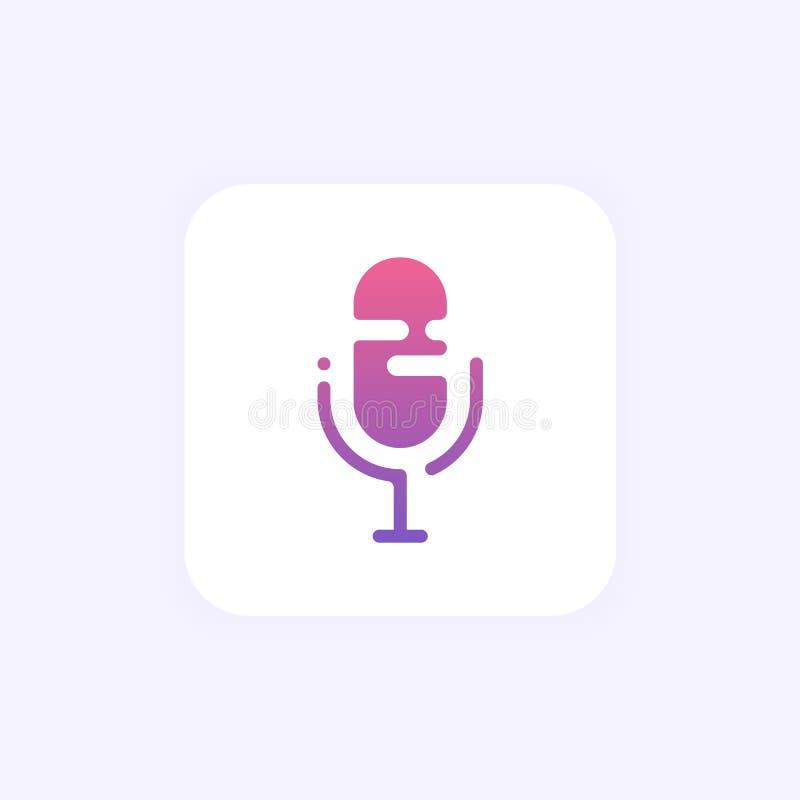 O assistente pessoal e o reconhecimento de voz vector a ilustração de tecnologias inteligentes do soundwave Botão do microfone do ilustração royalty free