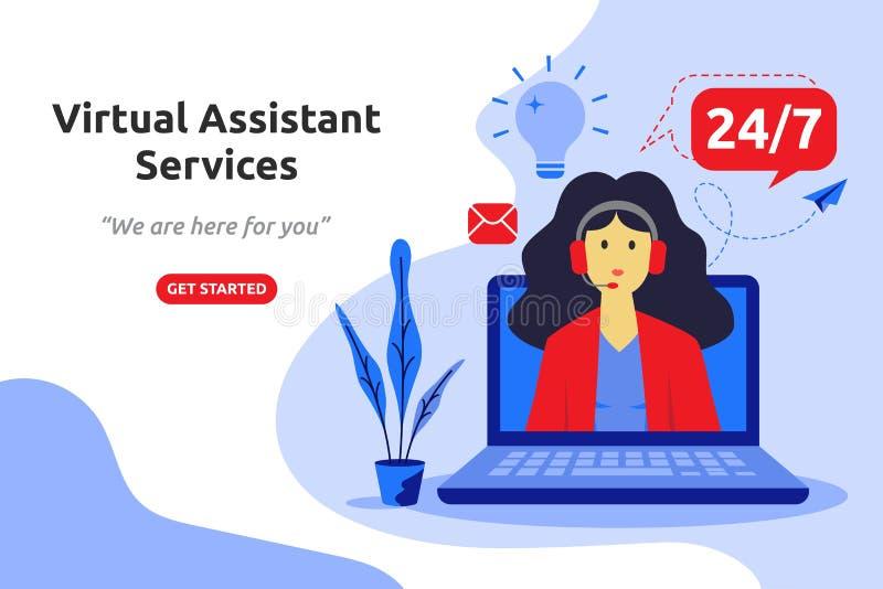 O assistente virtual em linha presta serviços de manutenção ao projeto liso moderno do conceito VE ilustração royalty free
