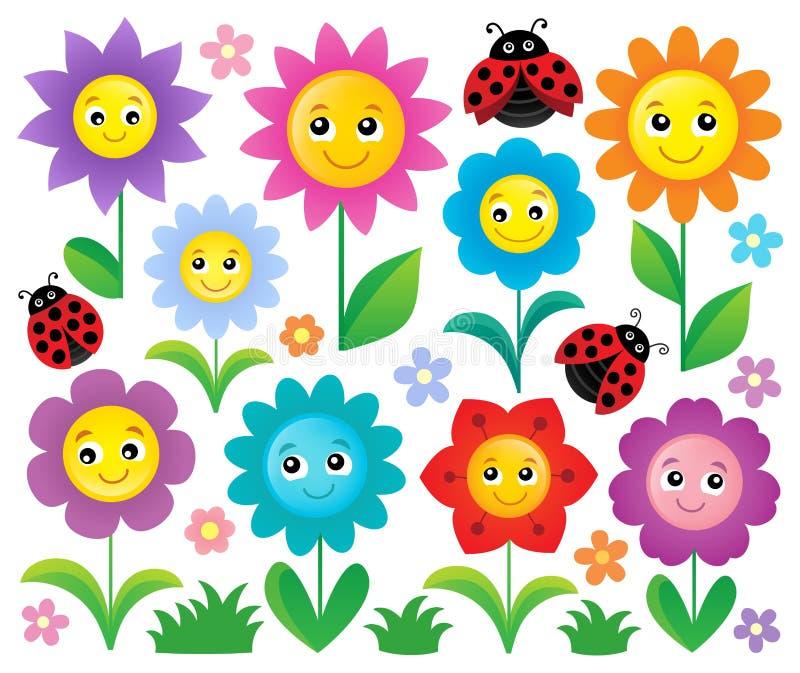 O assunto feliz das flores ajustou 1 ilustração do vetor