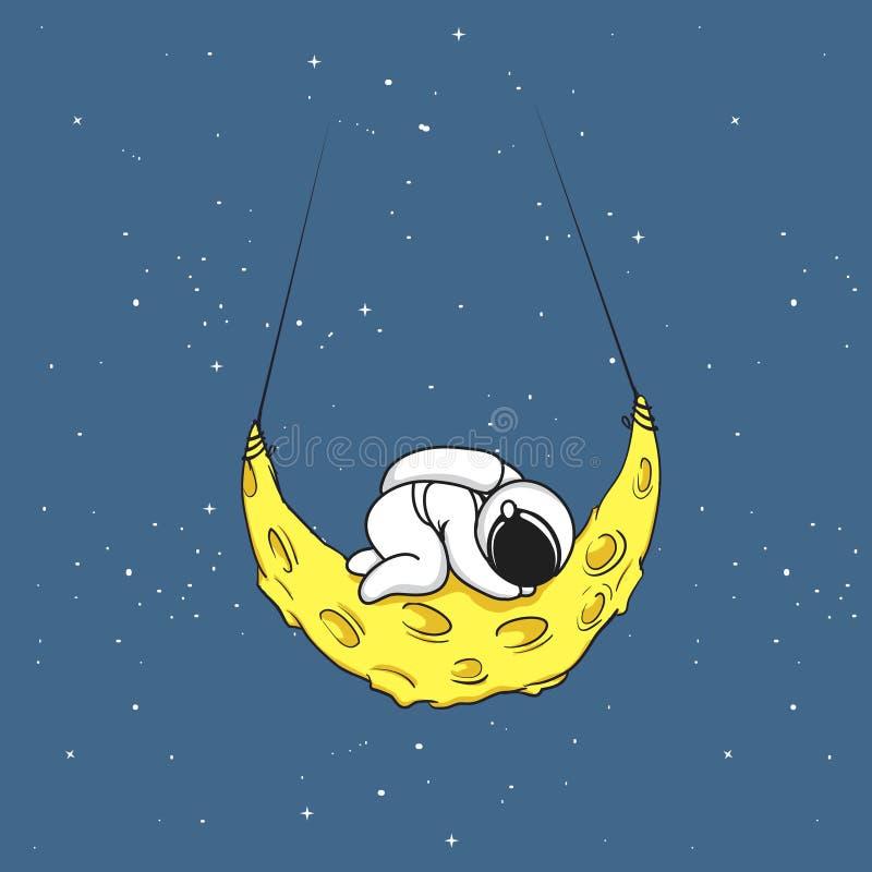 O astronauta bonito dorme na lua crescente ilustração royalty free