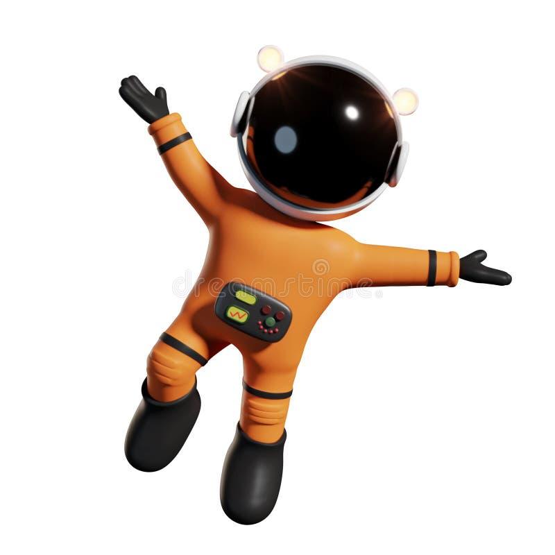 O astronauta bonito dos desenhos animados no terno de espaço alaranjado está feliz na rendição do espaço 3d da gravidade zero, is ilustração stock