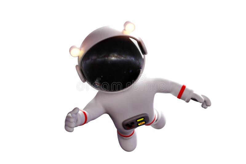O astronauta bonito dos desenhos animados no terno de espaço branco é sem peso na rendição do espaço 3d da gravidade zero, isolad ilustração stock