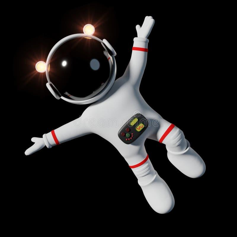 O astronauta bonito dos desenhos animados no terno de espaço branco está feliz no espaço 3d da gravidade zero rende, isolado no f ilustração royalty free
