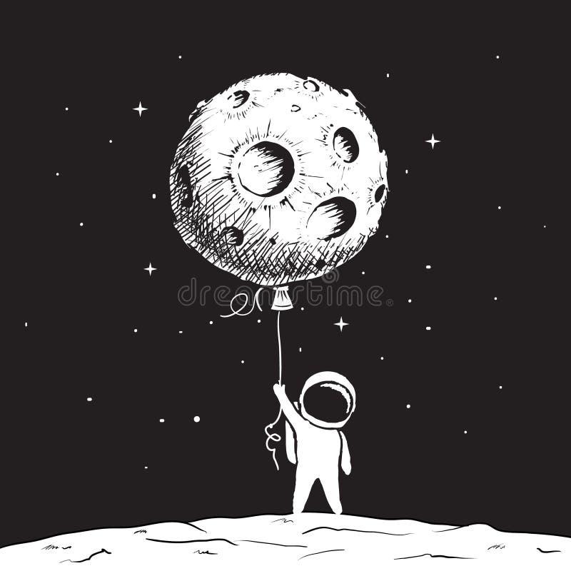 O astronauta bonito mantém uma lua ilustração royalty free
