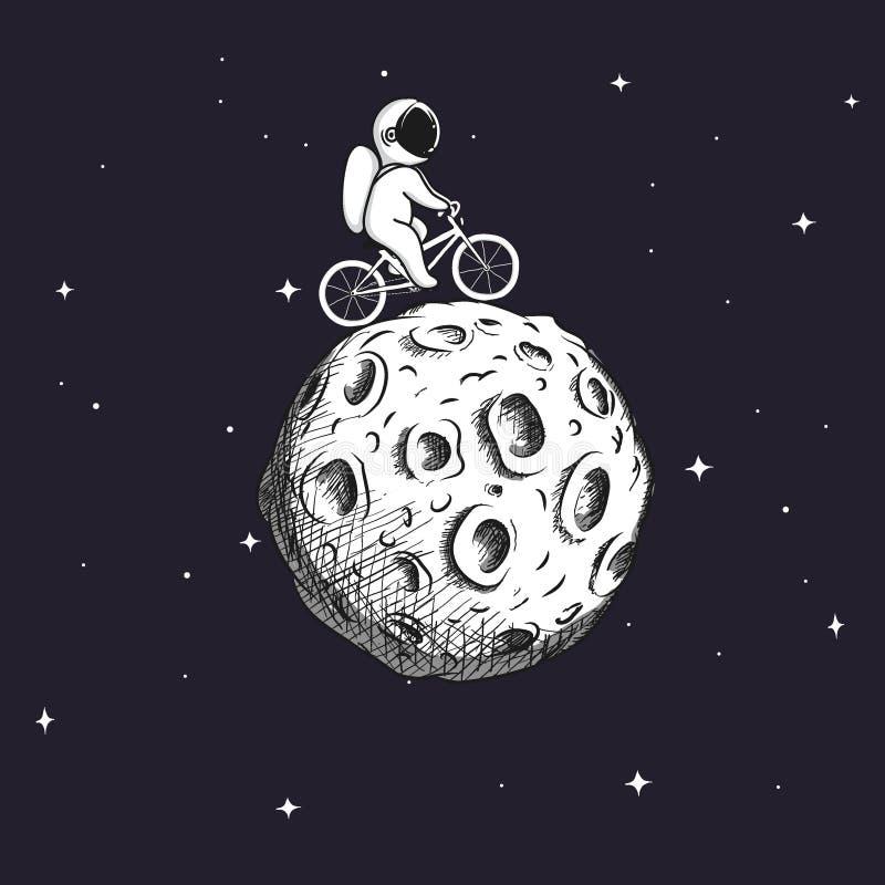 O astronauta bonito monta na bicicleta na lua ilustração royalty free
