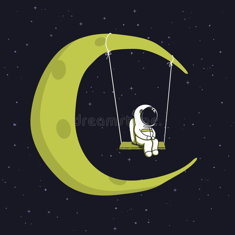 O astronauta bonito senta-se no balanço no espaço ilustração do vetor
