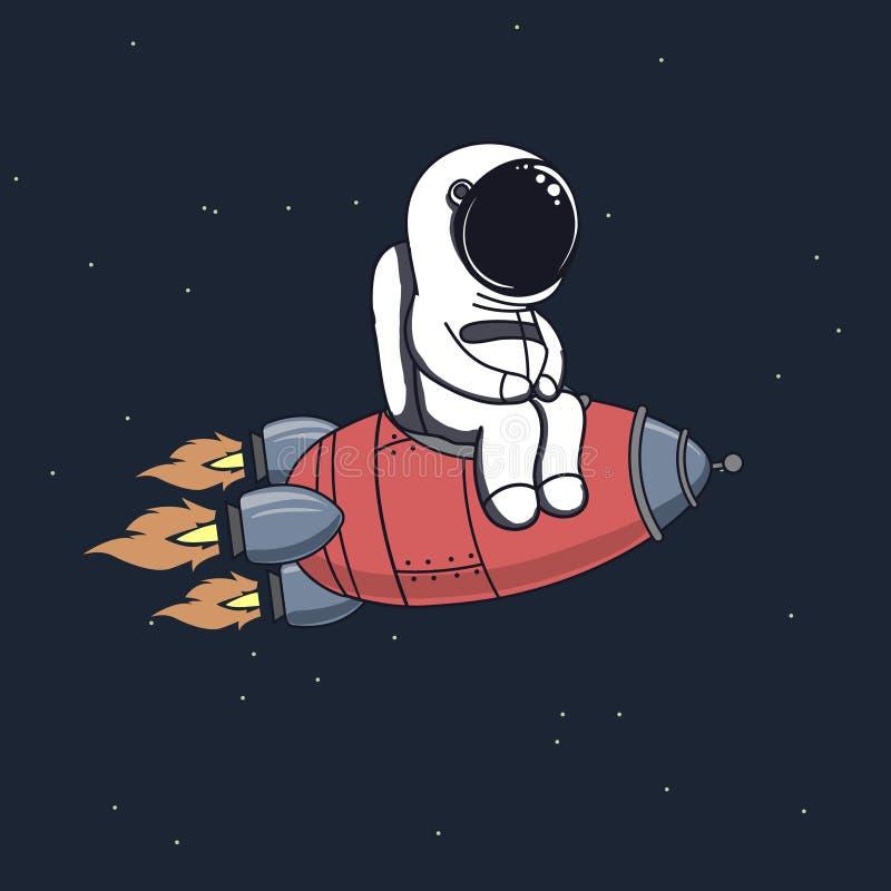 O astronauta bonito senta-se no foguete ilustração do vetor