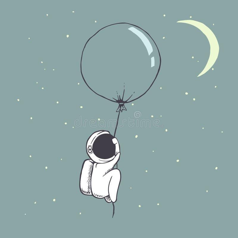 O astronauta bonito voa com balão ilustração do vetor