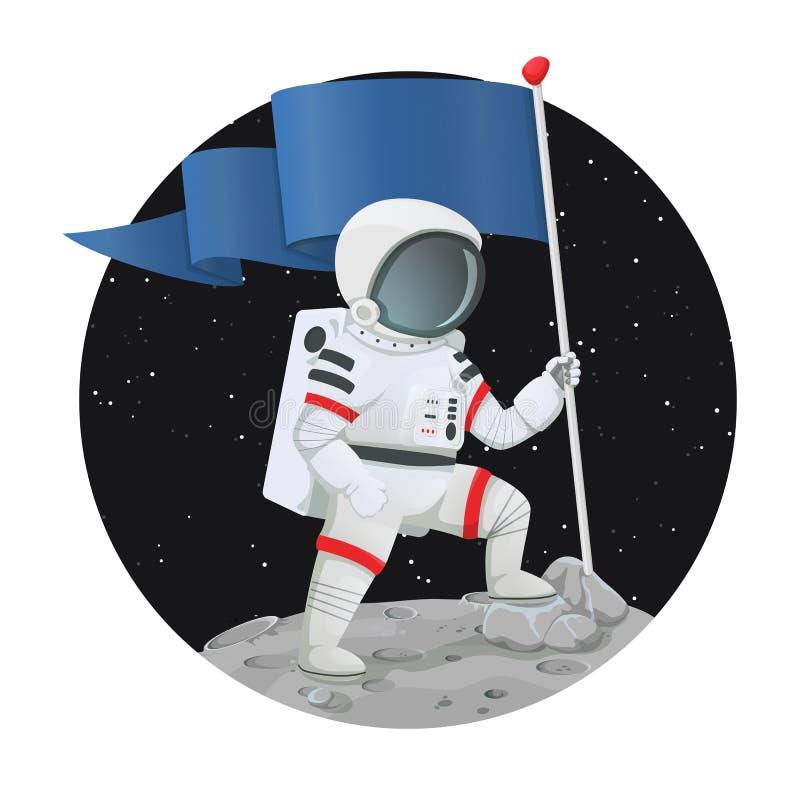 O astronauta com a bandeira que está triunfantemente na superfície de um planeta com espaço escuro e protagoniza no fundo ilustração royalty free