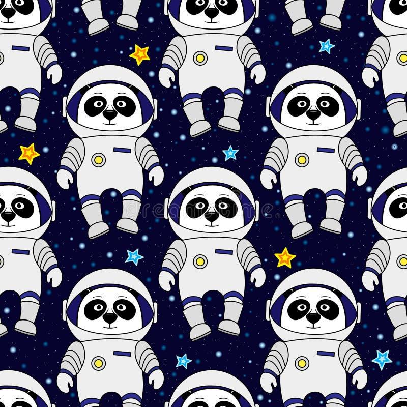 O astronauta da panda e protagoniza no espaço, teste padrão sem emenda ilustração royalty free