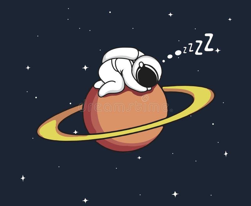 O astronauta dorme no Urano ilustração royalty free