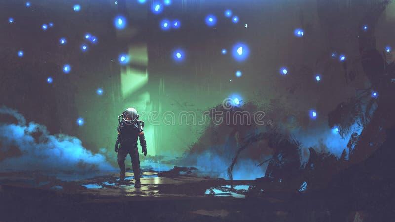 O astronauta em uma floresta estrangeira ilustração do vetor