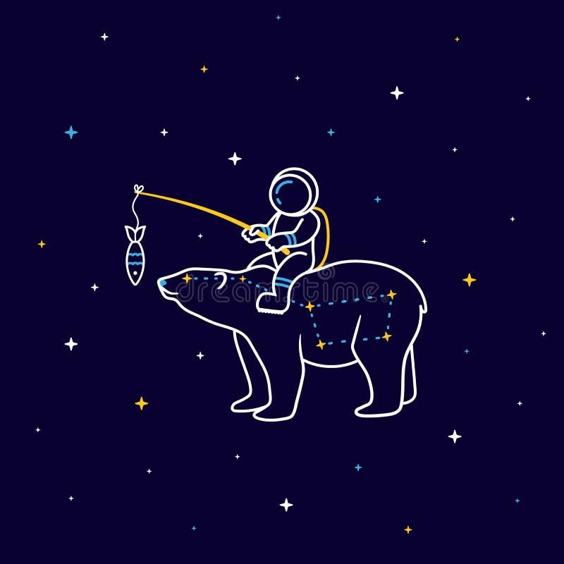 O astronauta engraçado dos desenhos animados senta-se na constelação de um grande urso no espaço com estrelas ao redor ilustração do vetor
