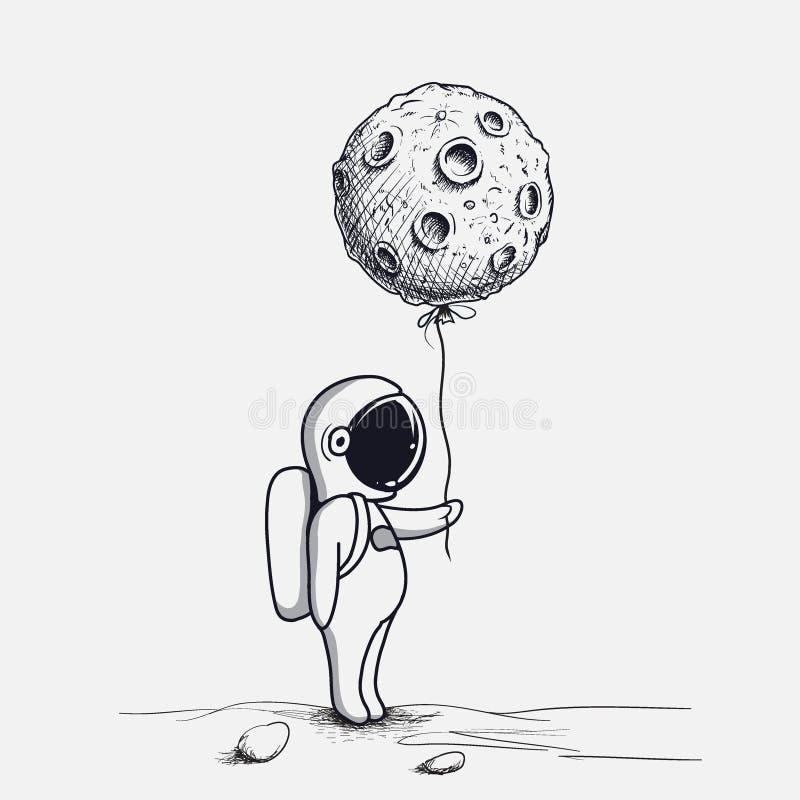 O astronauta engraçado mantém o balão abstrato como uma lua ilustração royalty free