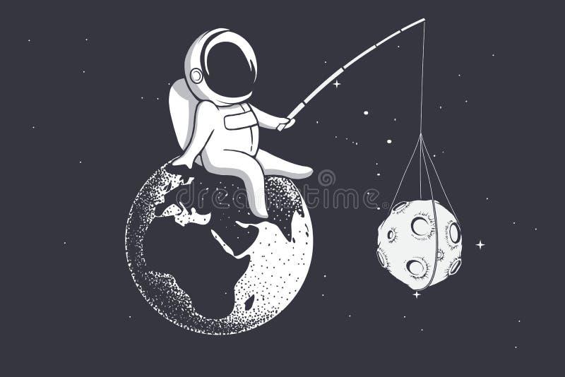 O astronauta guarda a lua com uma vara ilustração do vetor