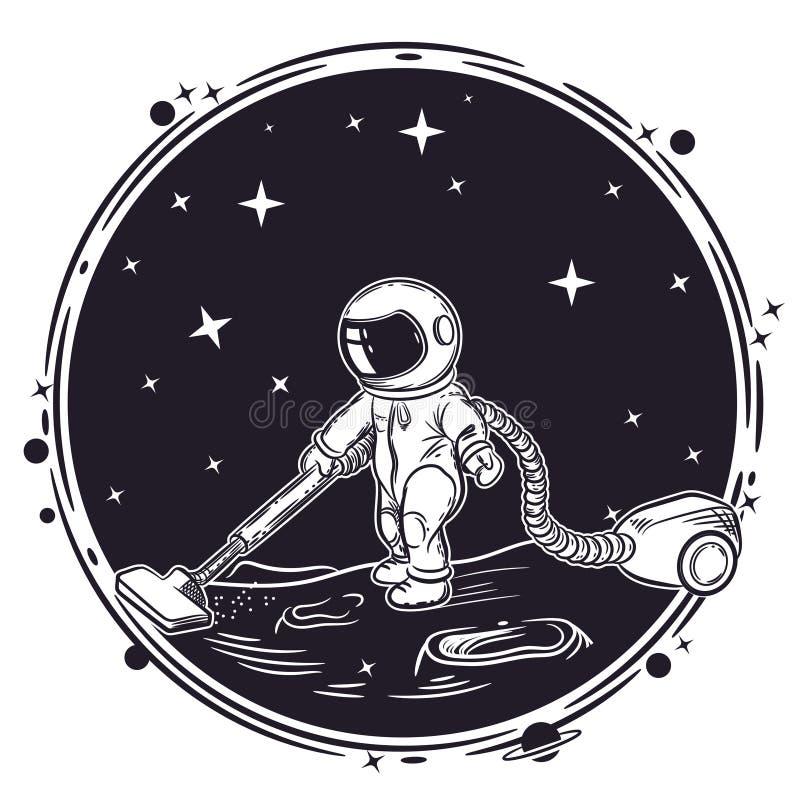 O astronauta limpa o planeta Ilustra??o do vetor ilustração do vetor