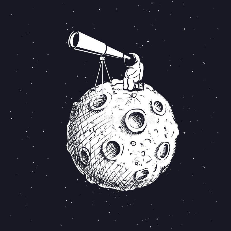 O astronauta na lua olha através do telescópio ilustração do vetor