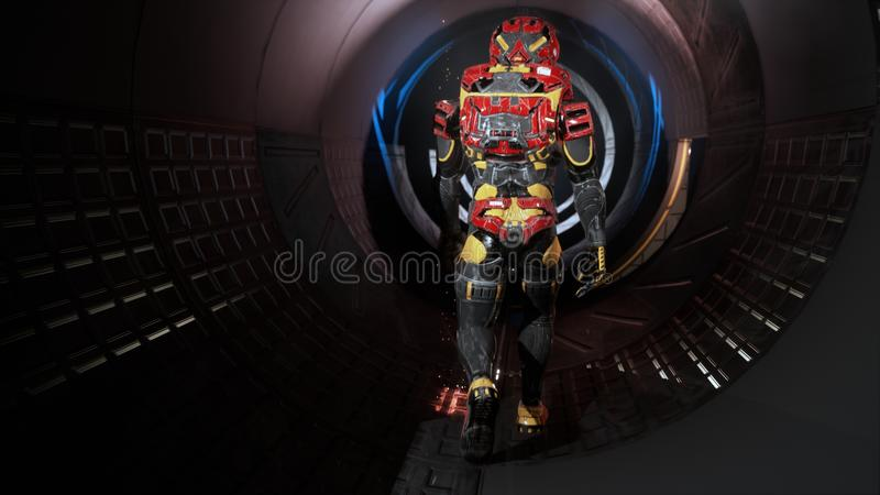 O astronauta passa através de um túnel futurista da ficção científica com faíscas e fumo, a vista interior rendição 3d ilustração stock
