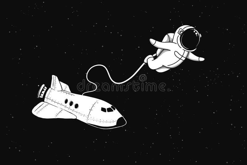 O astronauta voa no espaço da canela ilustração do vetor