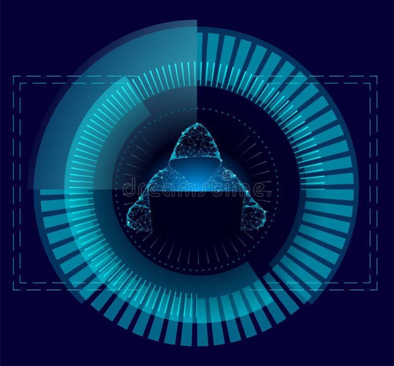 O ataque do cyber da segurança do Internet evita o conceito do negócio baixo poli Hacker anônimo na finança azul do laptop ilustração stock