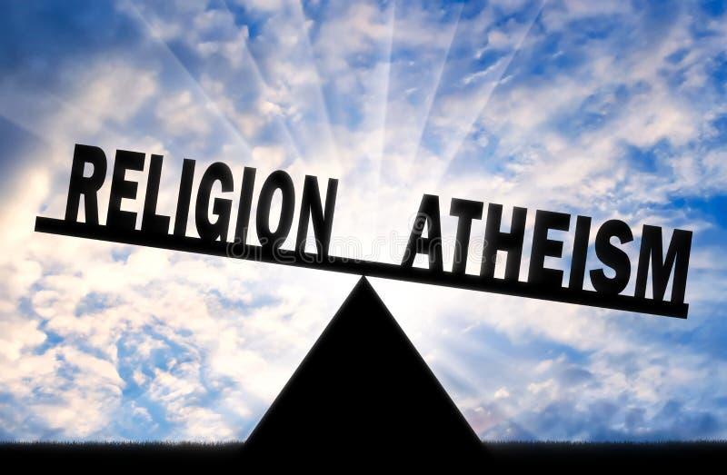O ateísmo da palavra é mais poderoso do que a religião da palavra nas escalas ilustração stock