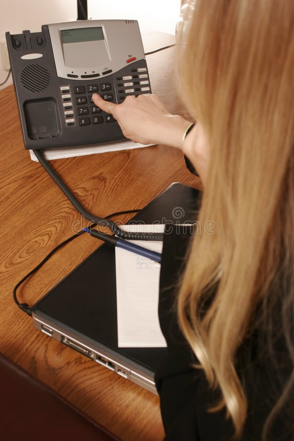 O atendimento de telefone. fotografia de stock
