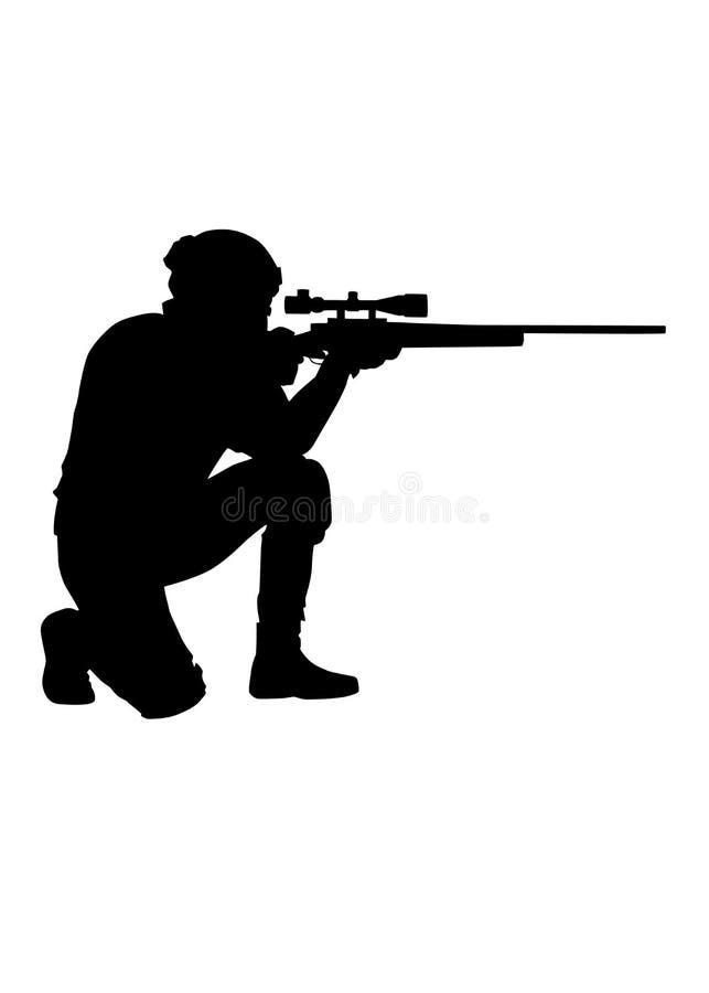O atirador furtivo das forças policiais aponta a silhueta do vetor do rifle fotografia de stock
