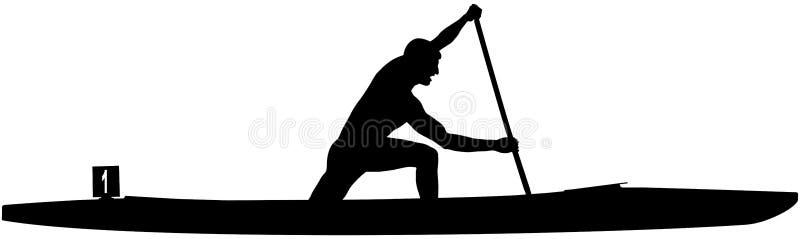 O atleta Canoeing ostenta a canoa ilustração royalty free