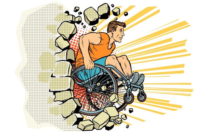 O atleta masculino caucasiano em uma cadeira de rodas perfura a parede ilustração do vetor