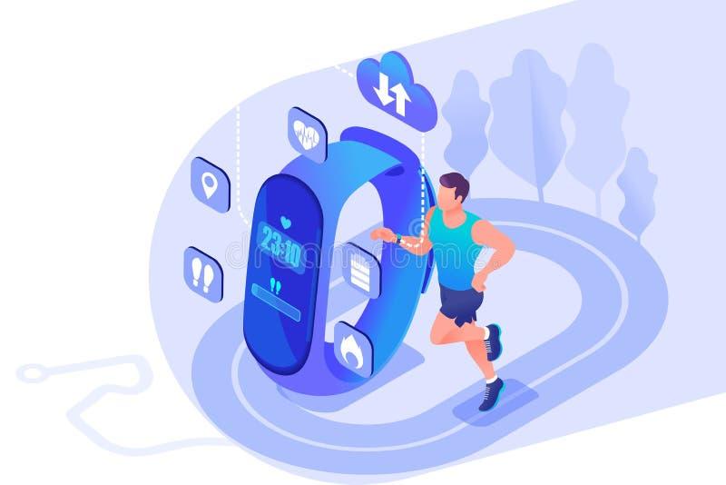 O atleta masculino do conceito isométrico usa um bracelete da aptidão, as propriedades e o desempenho do dispositivo Conceito par ilustração royalty free