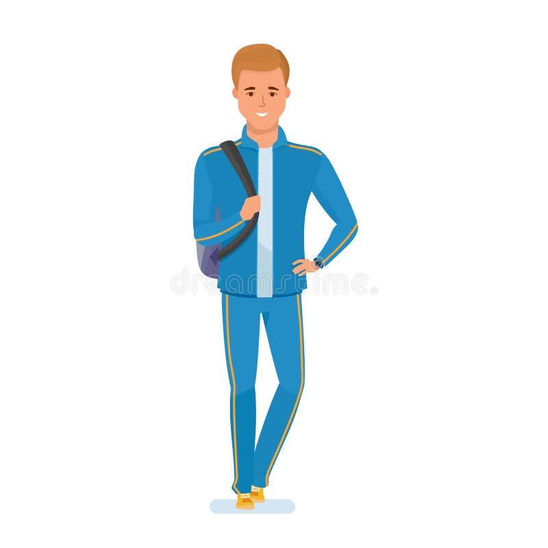 O atleta novo, com o saco no ombro, vai à formação ilustração stock