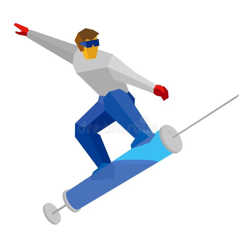 O atleta que salta na seringa gosta em um snowboard ilustração royalty free