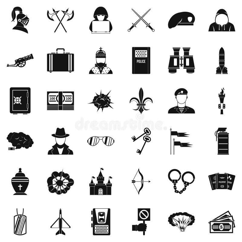 O ato de ícones da agressão ajustou-se, estilo simples ilustração do vetor