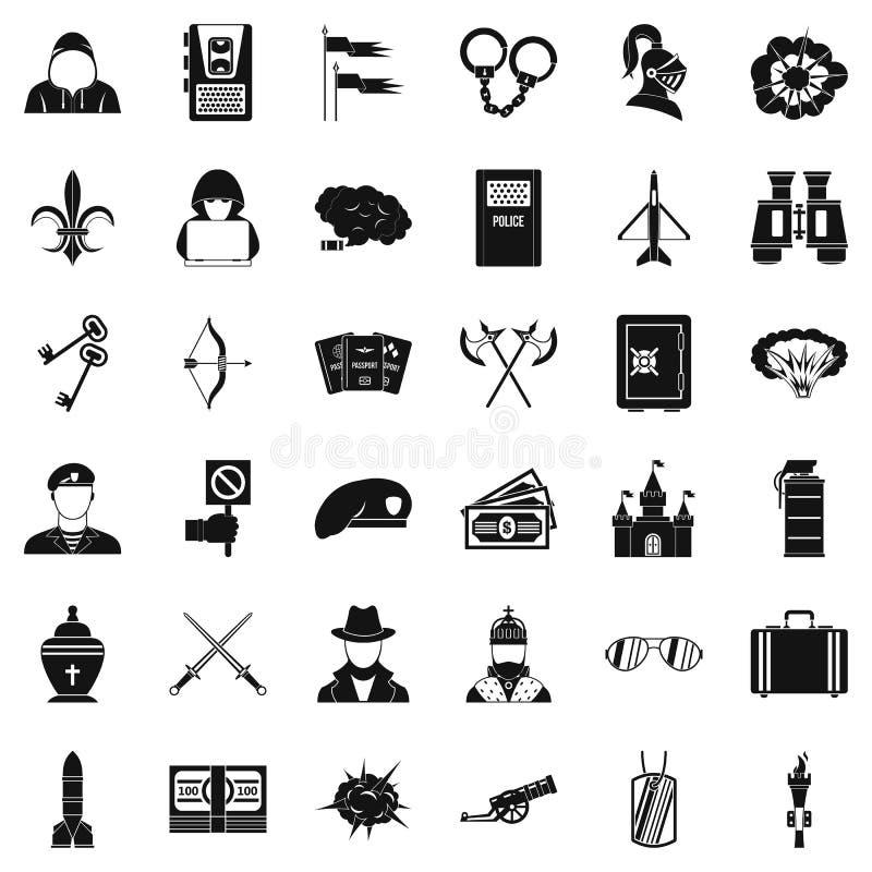O ato de ícones da guerra ajustou-se, estilo simples ilustração royalty free