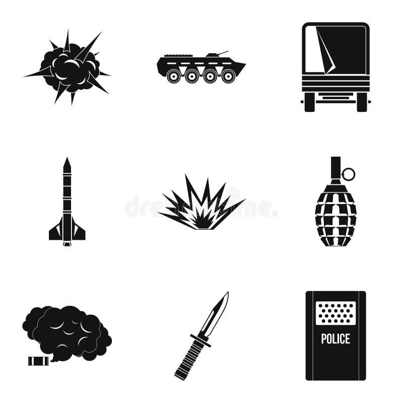 O ato de ícones da guerra ajustou-se, estilo simples ilustração stock