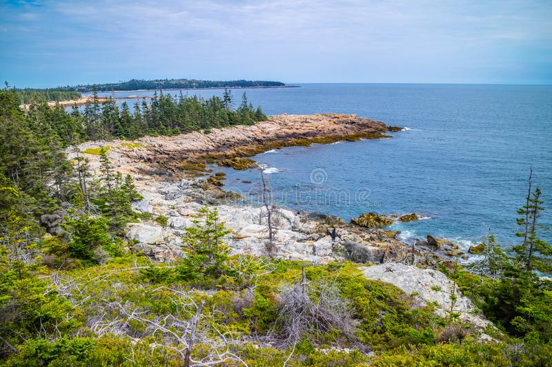 O au bonito Haut de Duck Harbor Isle no parque nacional do Acadia, Maine imagens de stock royalty free