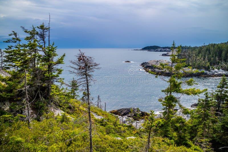 O au bonito Haut de Duck Harbor Isle no parque nacional do Acadia, Maine imagem de stock