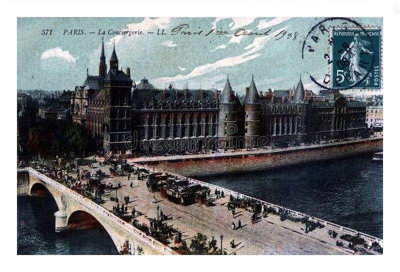 O au de Paris, de Palais de Justiça, de Conciergerie e de Pont muda, França, cerca de 1908, fotografia de stock royalty free