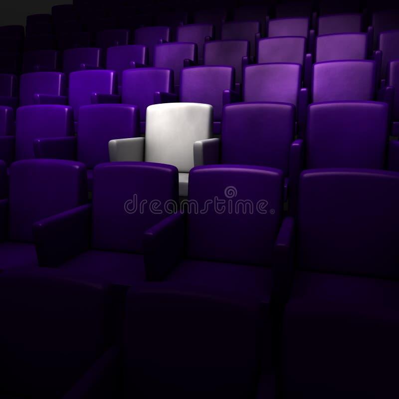 O auditório com um assento branco ilustração stock