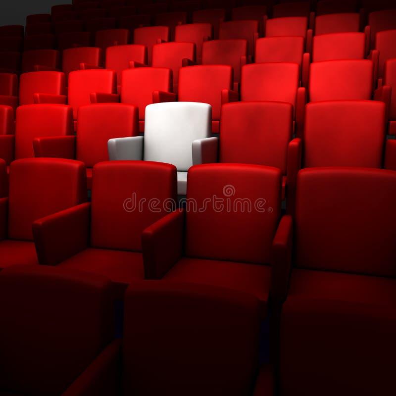 O auditório com um assento branco ilustração do vetor