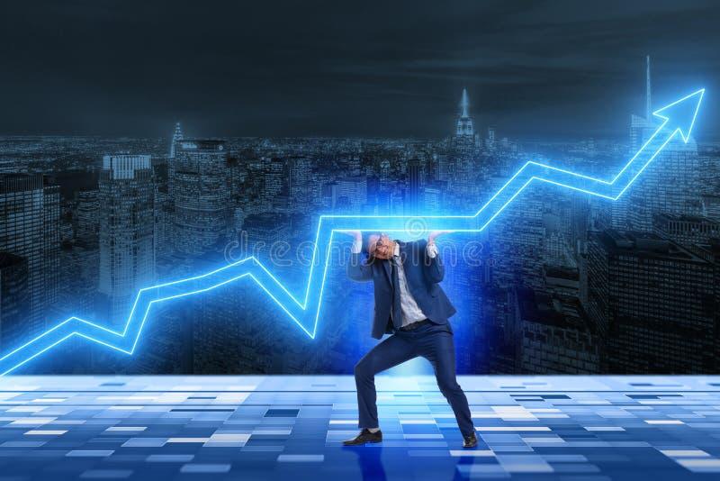 O aumento de apoio do homem de negócios na economia fotografia de stock