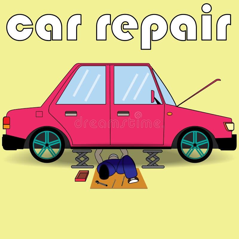 O auto mecânico é serviço de reparações ilustração stock