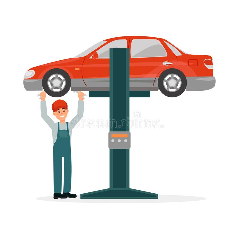 O auto mecânico no uniforme que está sob o carro vermelho levantou na auto ilustração do vetor da grua em um fundo branco ilustração royalty free