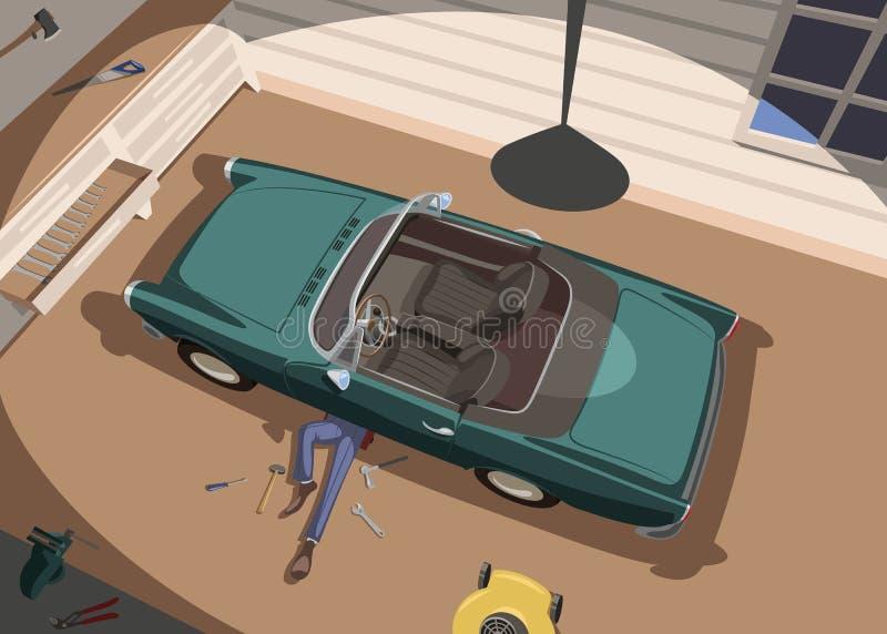 O auto mecânico repara seu carro na garagem ilustração stock