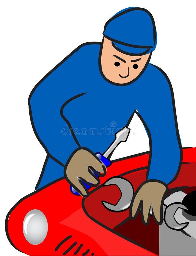 O auto mecânico repara um motor ilustração do vetor