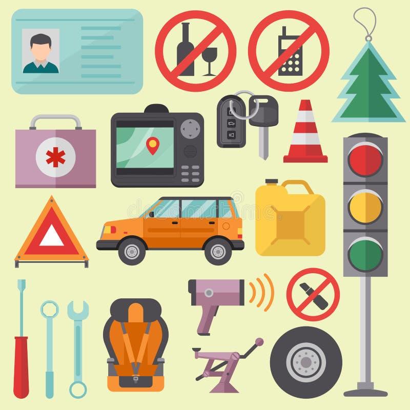 O auto motorista do serviço de equipamento do veículo do símbolo do ícone do motorista do transporte utiliza ferramentas a ilustr ilustração do vetor