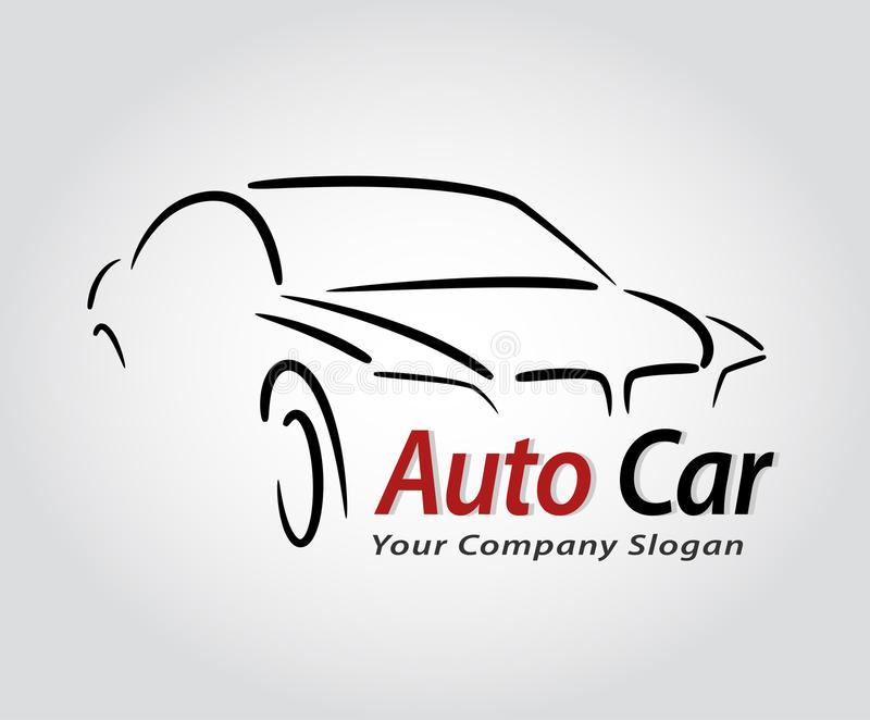O auto projeto do logotipo do carro do estilo com conceito ostenta o silh do ícone do veículo ilustração royalty free