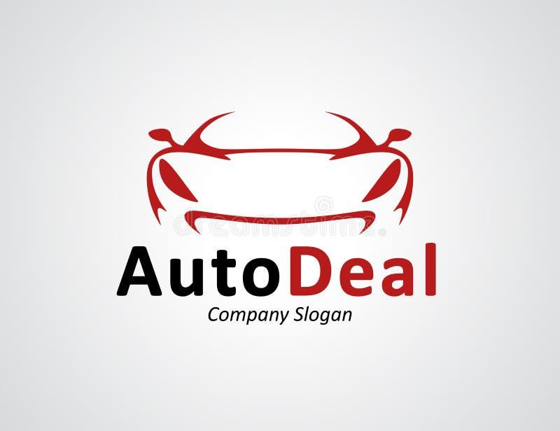 O auto projeto do logotipo do concessionário automóvel com conceito ostenta a silhueta do veículo ilustração stock